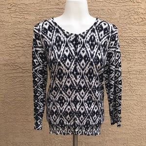 Grace Cardigan Ikat Pattern Black White Navy Med